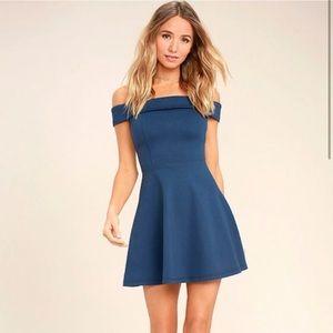 Lulus Blue off the shoulder dress
